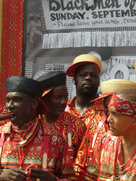 Gregg Stafford (left) before the Black Men of Labor second line parade in September 2006.