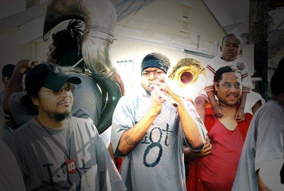 "Joseph Williams, aka ""Shotgun Joe,"" center, with Bennie Pete (tuba) and Raymond Williams (trumpet)"