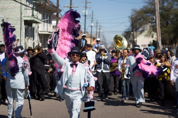 Rebirth Brass Band at the Sidewalk Steppers second line parade, 2011.